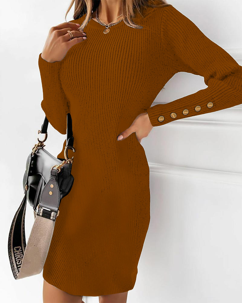 chicme / Ribbed Buttoned Long Sleeve Sweater Dress
