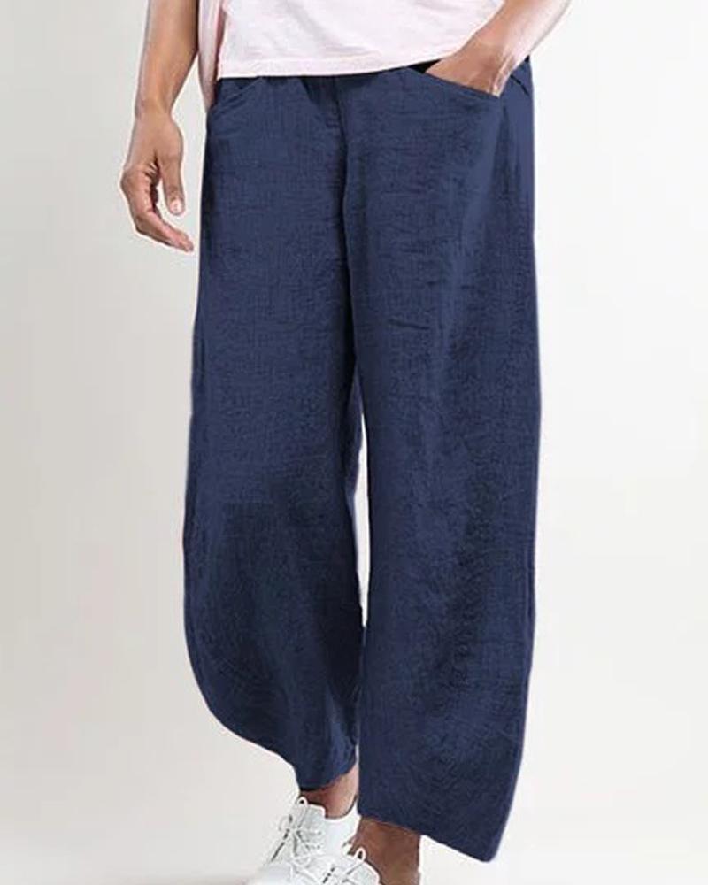 ivrose / Pantalones largos sueltos de bolsillo sólido