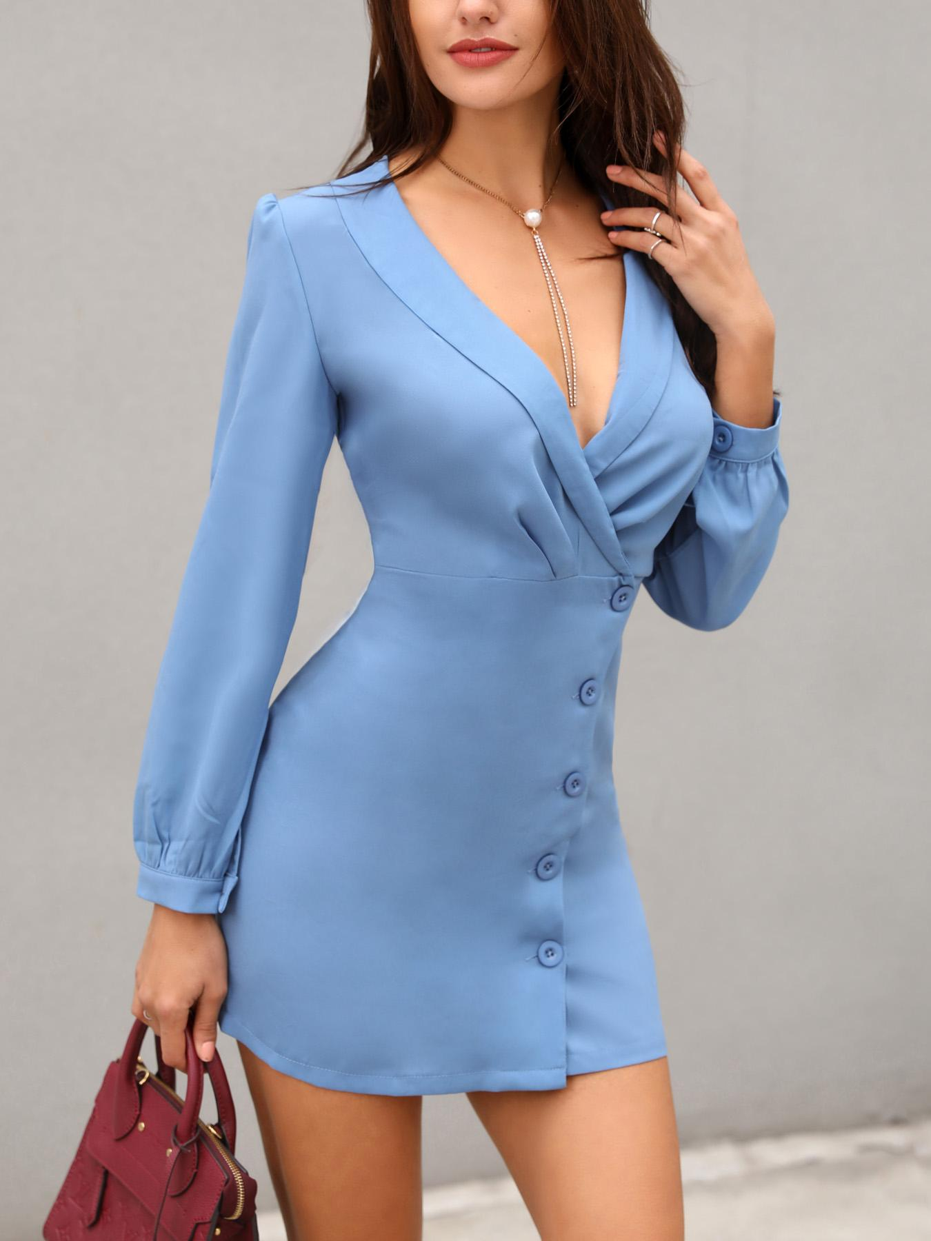 joyshoetique / Solid Deep V Button Design Blazer Dress