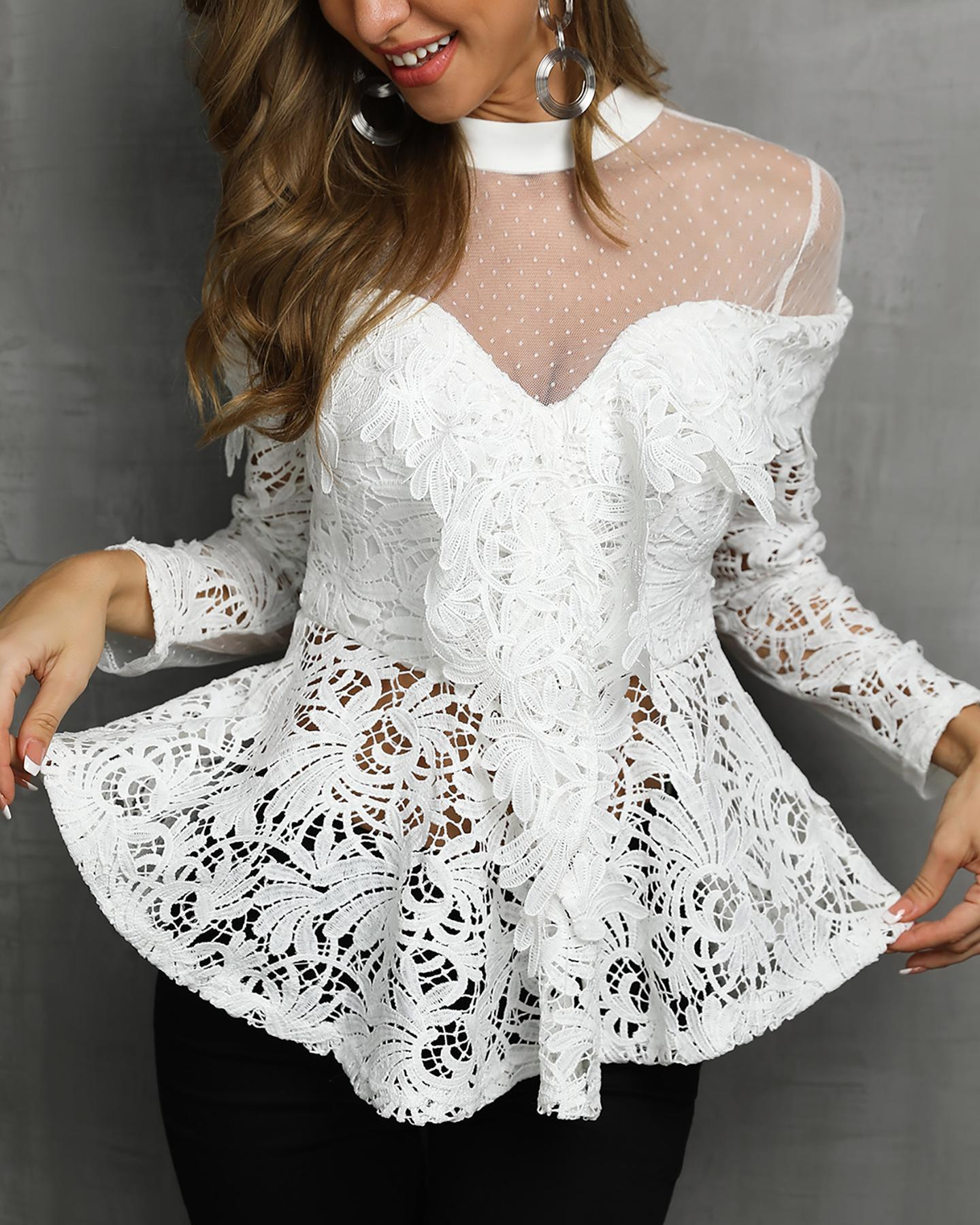 Sheer Mesh Floral Lace Ruffles Blouse