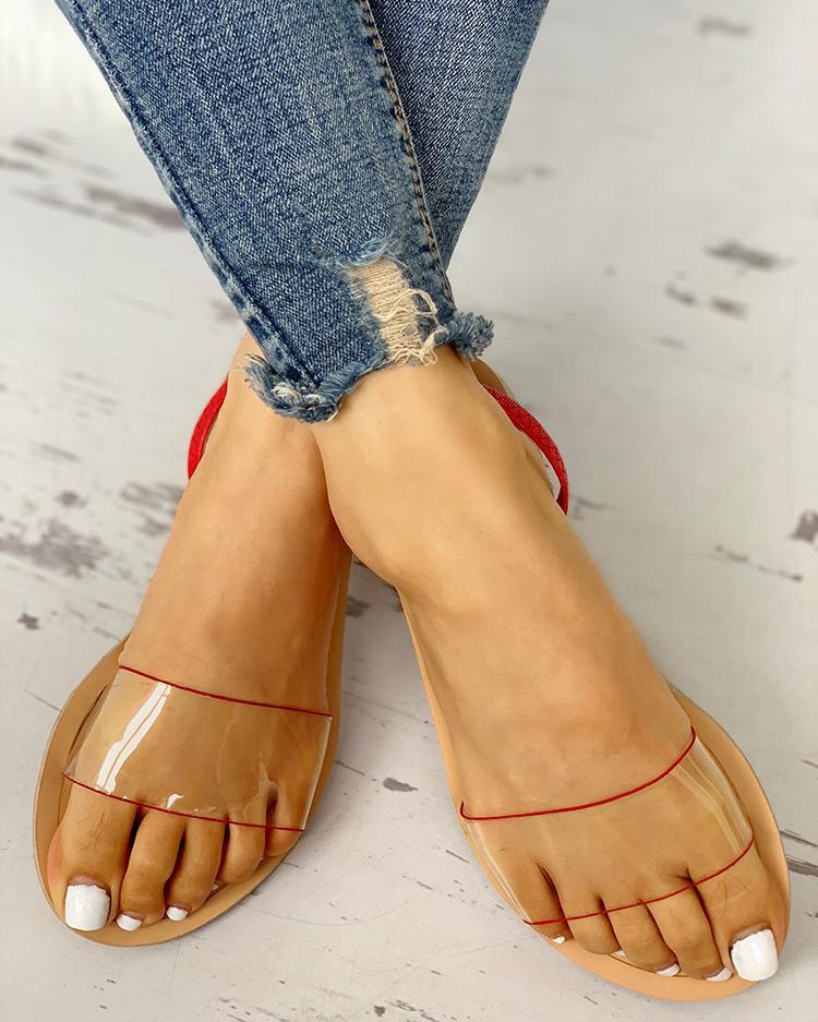 Transparent Design Open Toe Flat Sandals