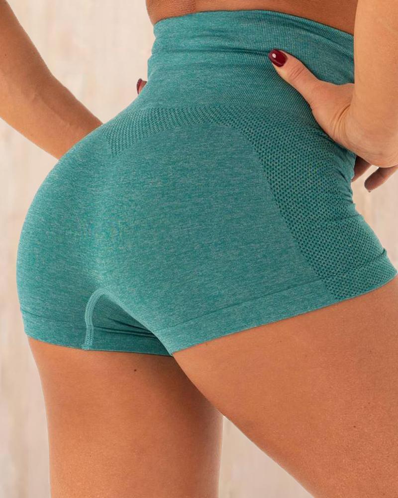 High Waist Solid Sporty Shorts фото