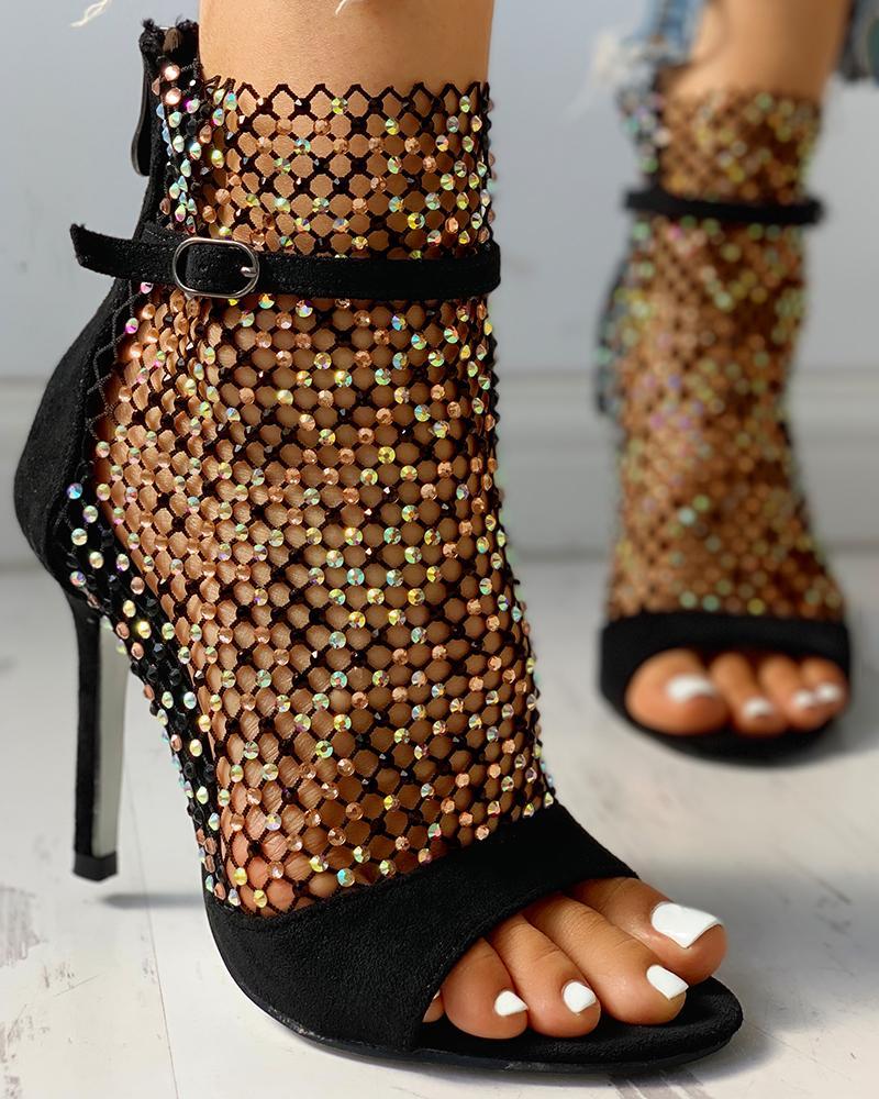 Studded Grid Mesh Open Toe Thin Heels, Black