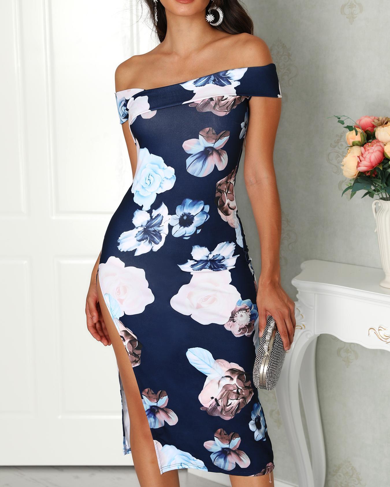 Off Shoulder Floral Side Split Midi Dress