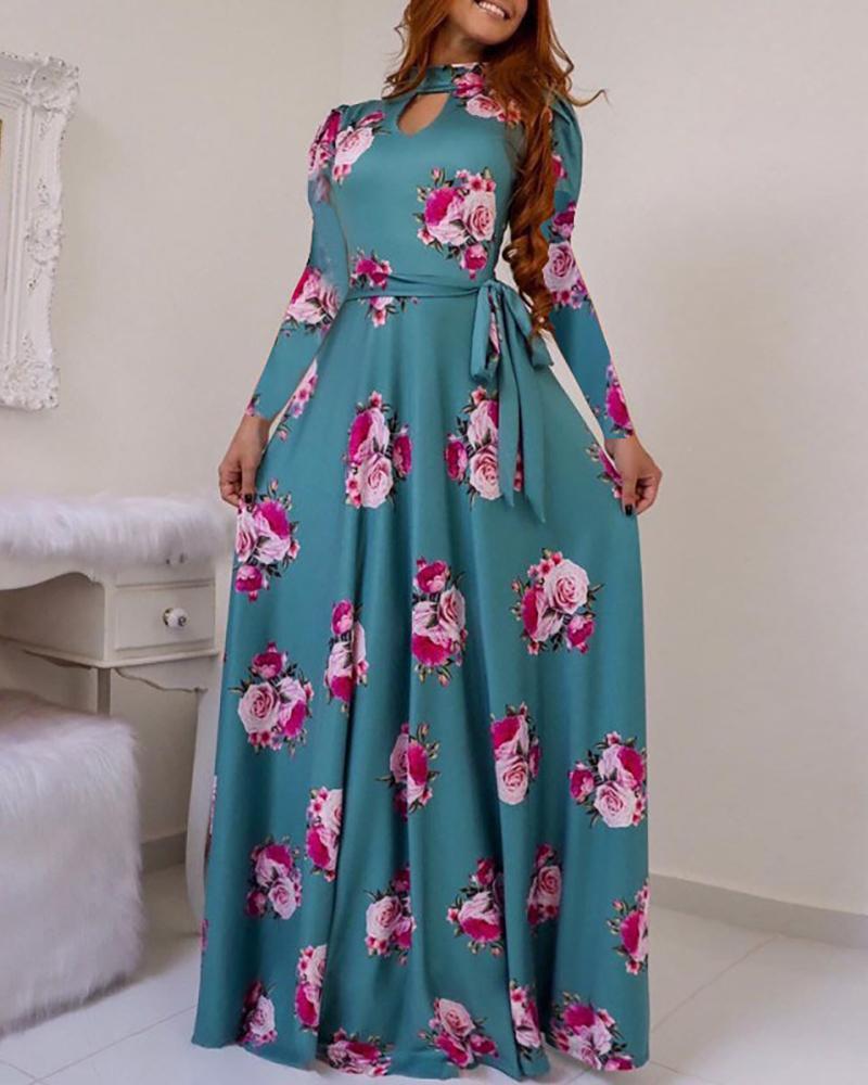 Long Sleeve Cutout Maxi Dress фото