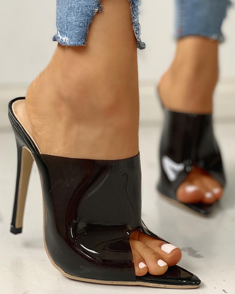 Peep Toe Thin Heeled Sandals, Black
