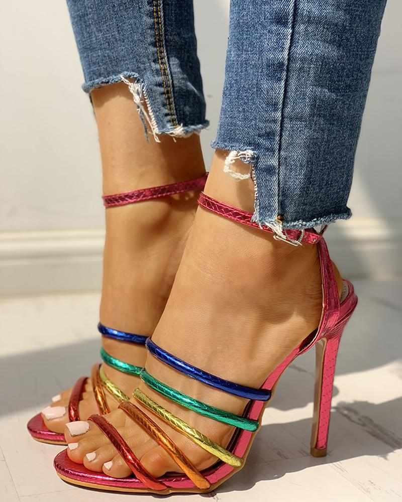 Colorful Multi-Strap Open Toe Thin Heeled Sandals