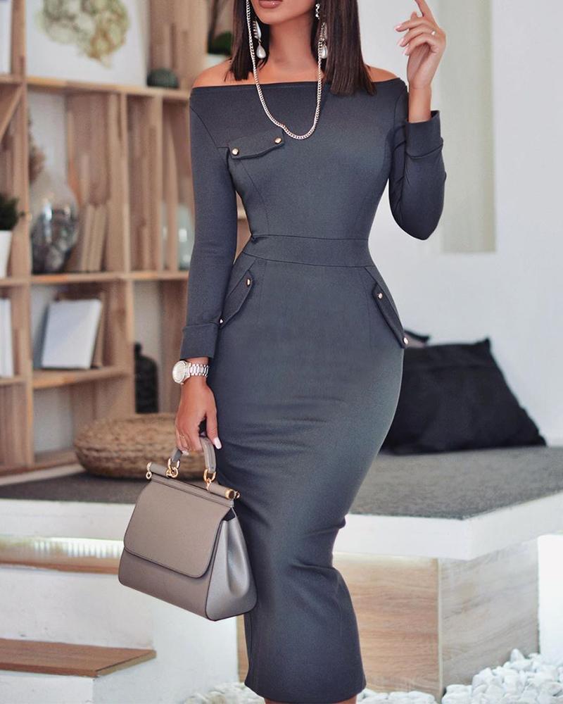 ivrose / Off Shoulder Bodycon Maxi Dress