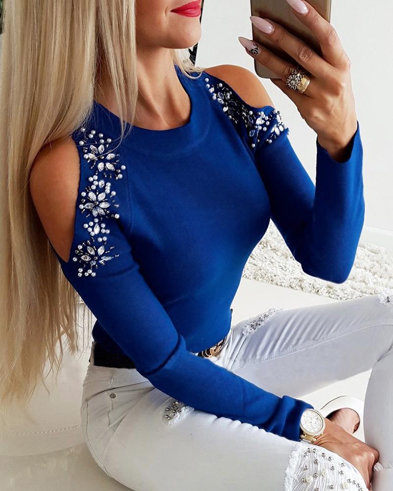 Cold Shoulder Studded Detail Blouse, Blue