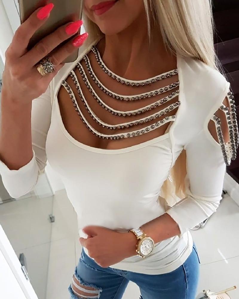 boutiquefeel / Blusa de ombro a frio com borlas