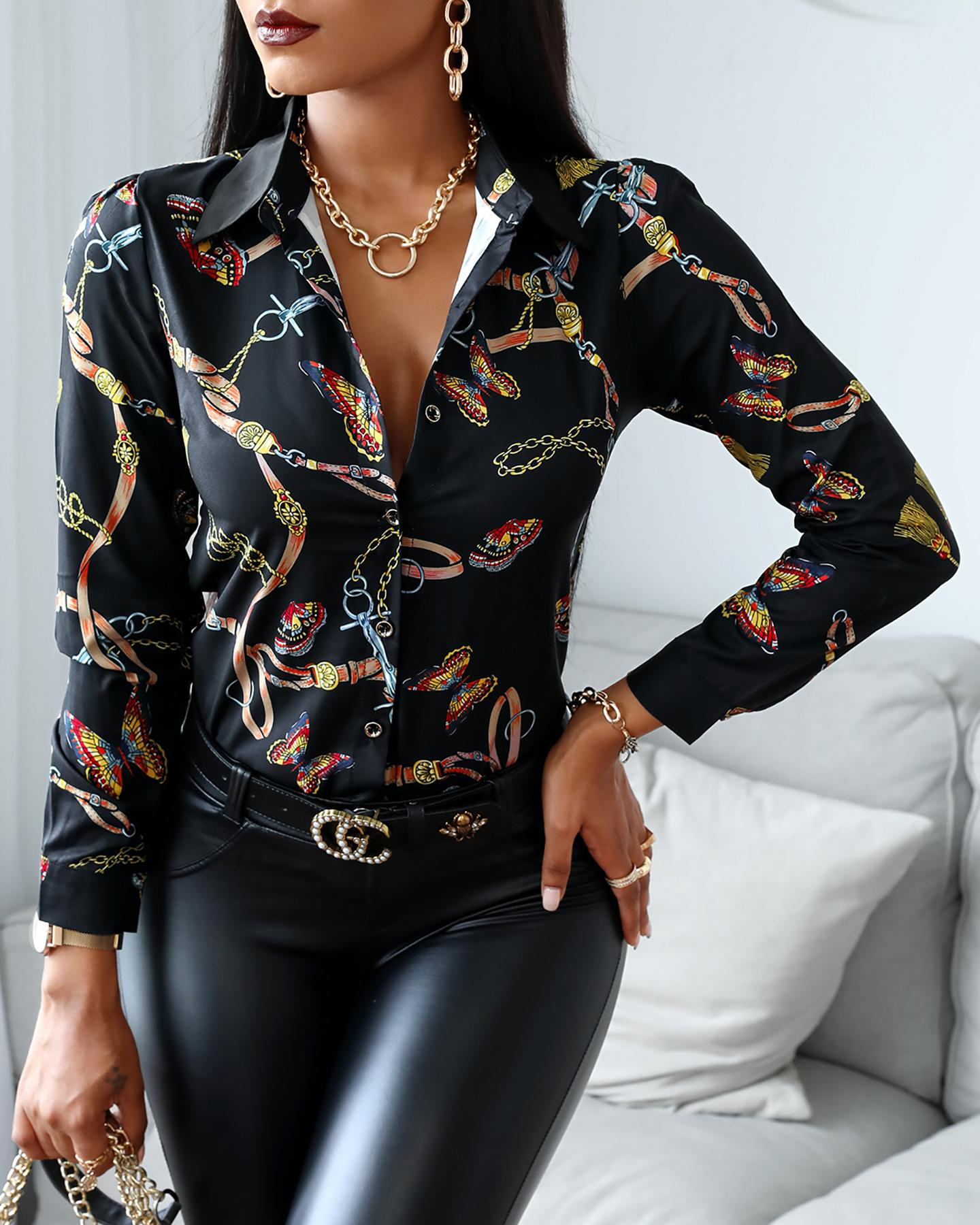 Image of Butterfly Scarf Print Button Design Shirt
