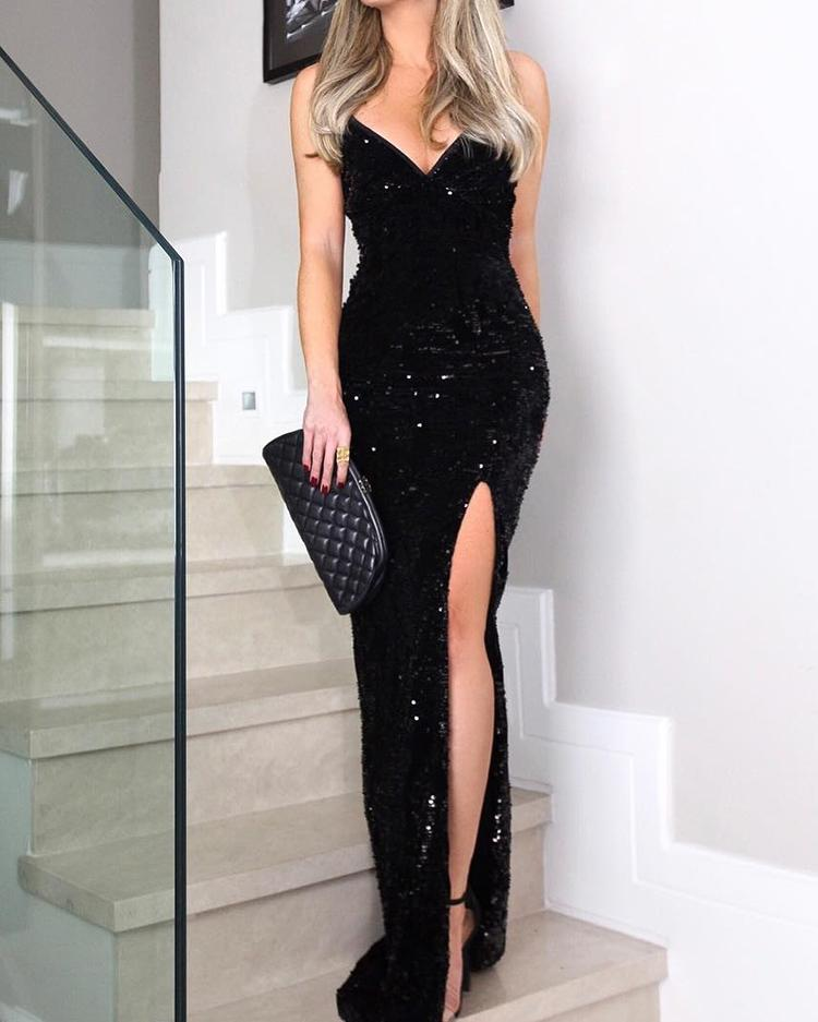 ivrose / Sleeveless Thigh Slit Sequin Evening Dress