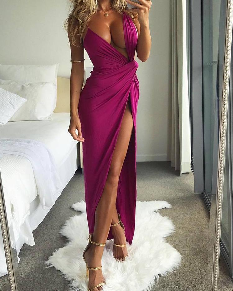 Deep Low Cut Scrunch High Split Maxi Dress Night Gown фото