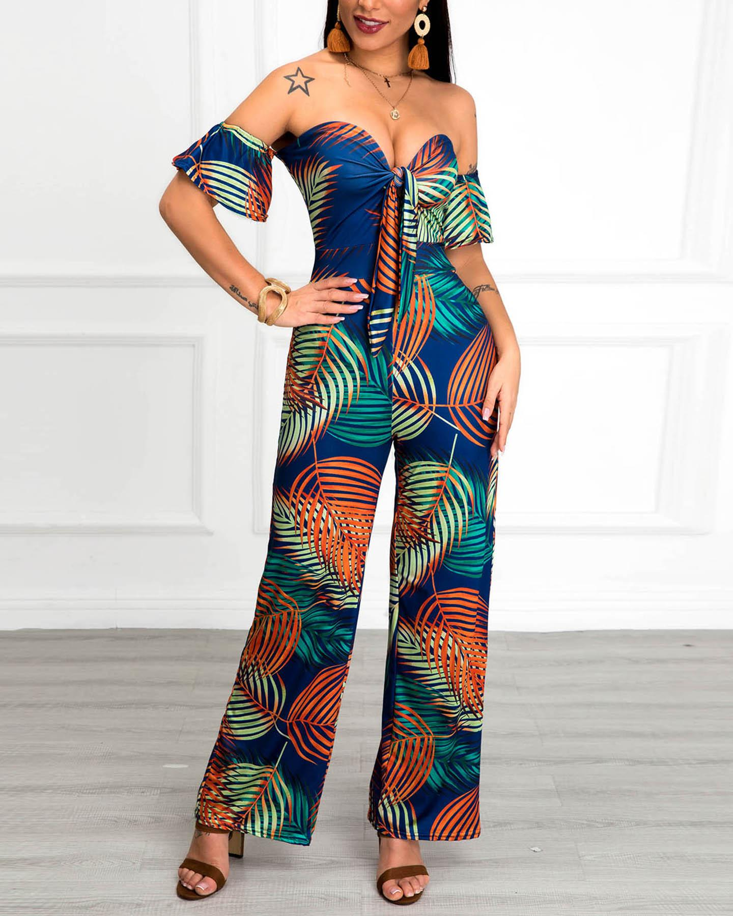 Off Shoulder Tropical Print Knotted Jumpsuit, Orange