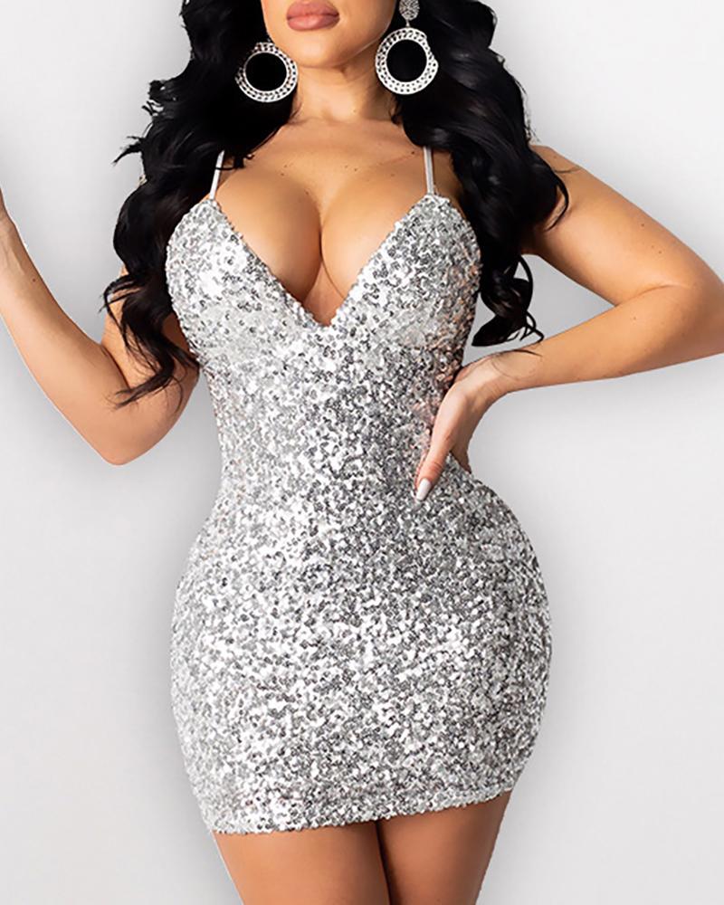boutiquefeel / Vestido ajustado de lentejuelas sin espalda con correa de espagueti con purpurina