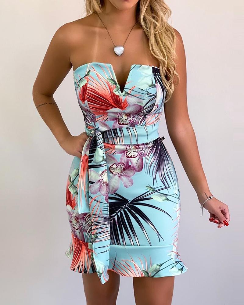 V-Cut Tube Tropical Print Ruffles Dress фото