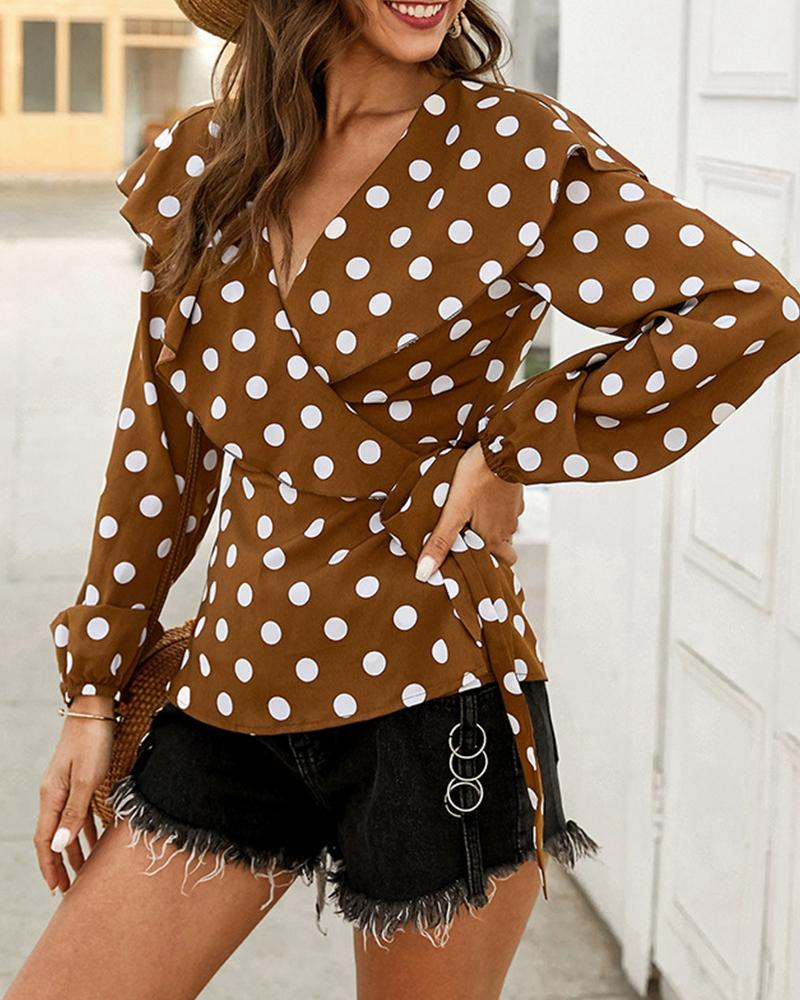 Polka Dot V Neck Top фото