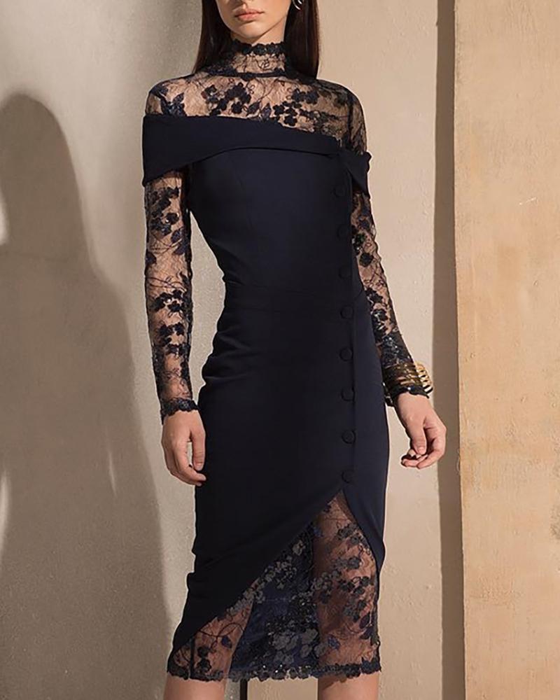Button Design Lace Insert Midi Dress