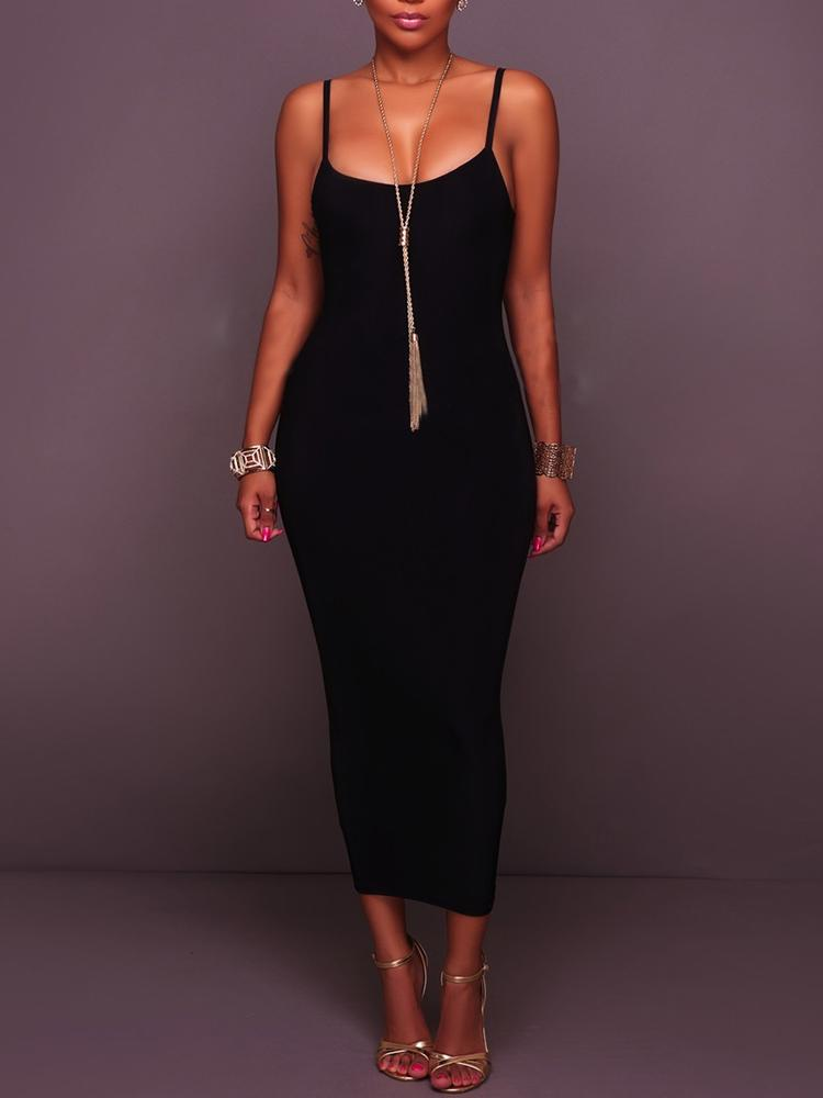 Low Cut Spaghetti Strap Bodycon Maxi Dress
