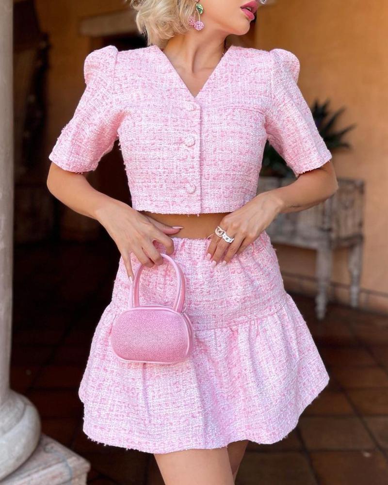Image of Puff Sleeve Tweed Button Design Top & Ruffles Skirt Set