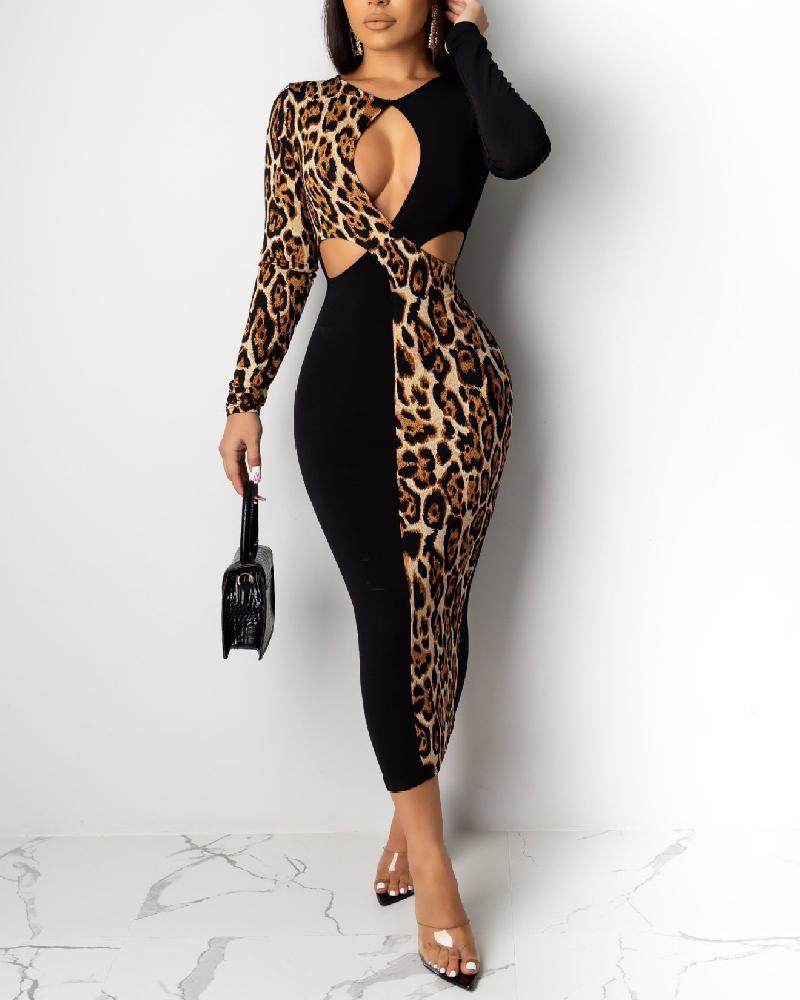 boutiquefeel / Retalhos de leopardo cortado no peito bodycon vestido