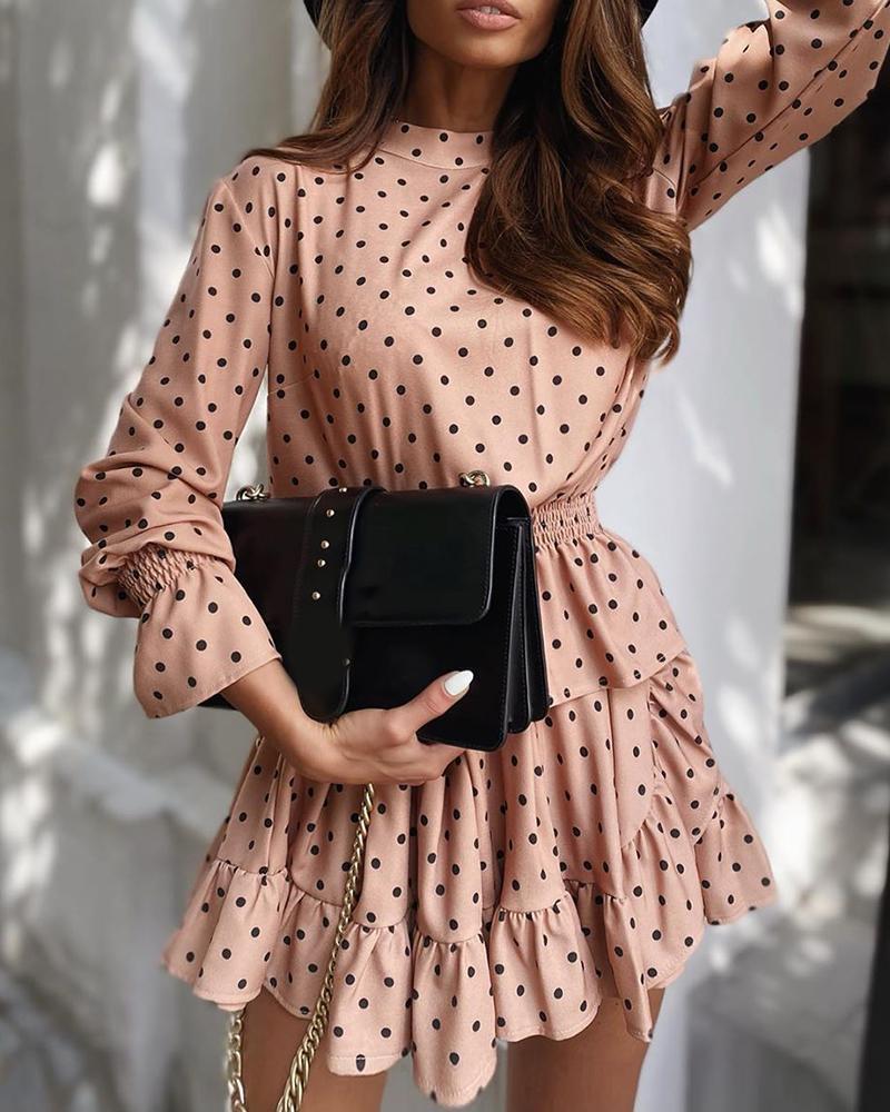 Polkadot Print Knotted Ruffles Dress фото