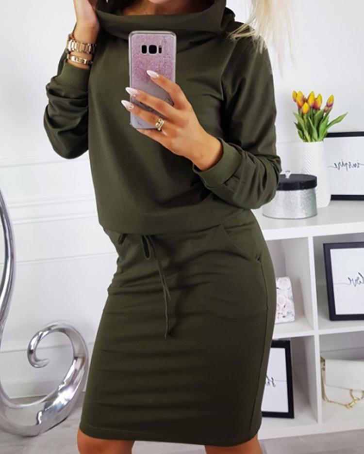 Cowl Neck Drawstring Sweatshirt Dress