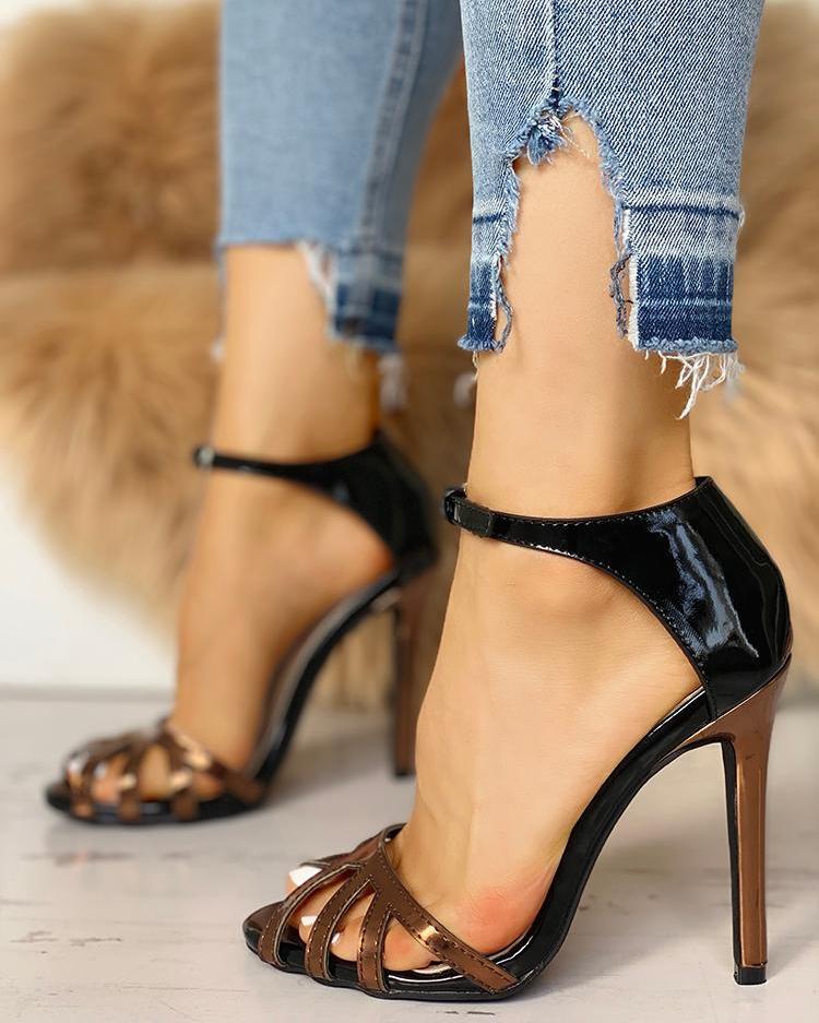 chicme / Gaiola escavar a correia do tornozelo fina sandália de salto alto