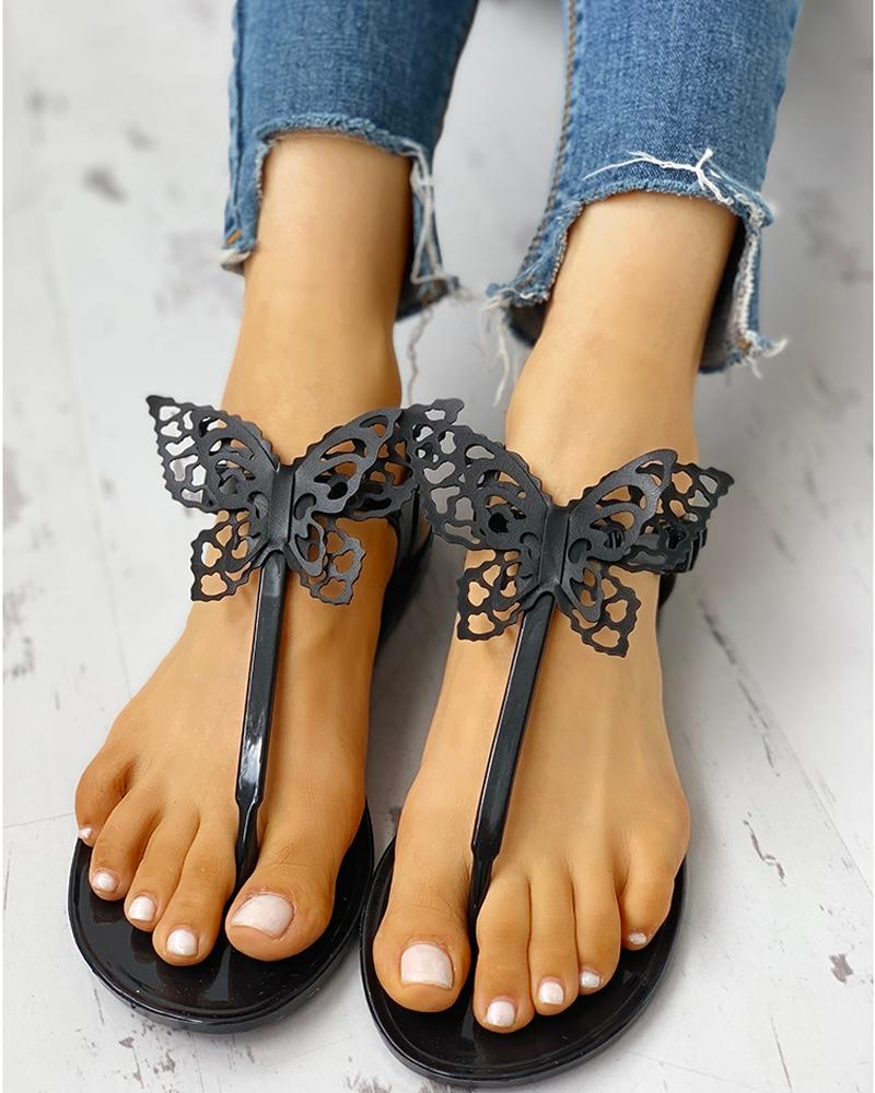Toe Post Butterfly Design Flat Sandals фото