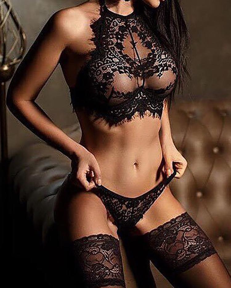 Alluring Black Eyelash Lace Trim Lingerie Sets фото