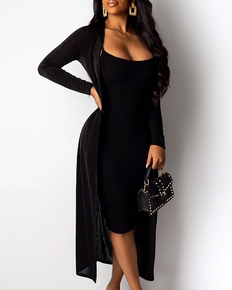 boutiquefeel / Vestido de Bodycon de alça sólida de espaguete e conjuntos de paletós casuais