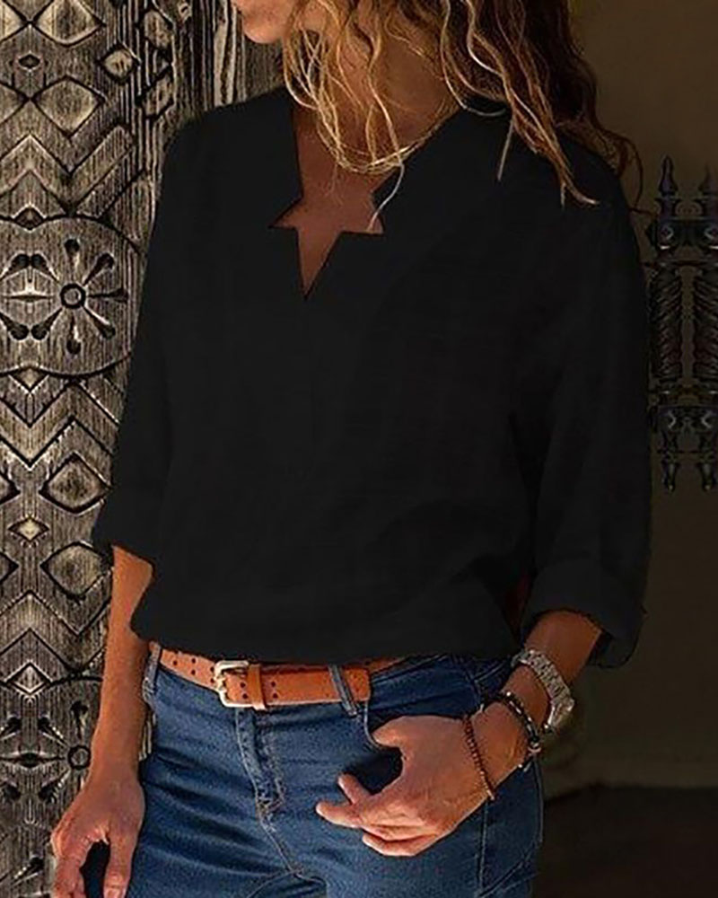 ivrose / Star Neck Design Casual Shirt