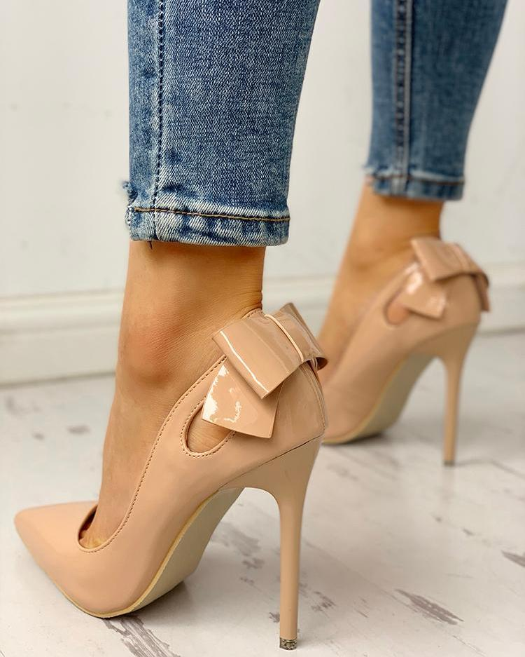 Pointed Toe Bowknot Cutout Thin Heels, Apricot