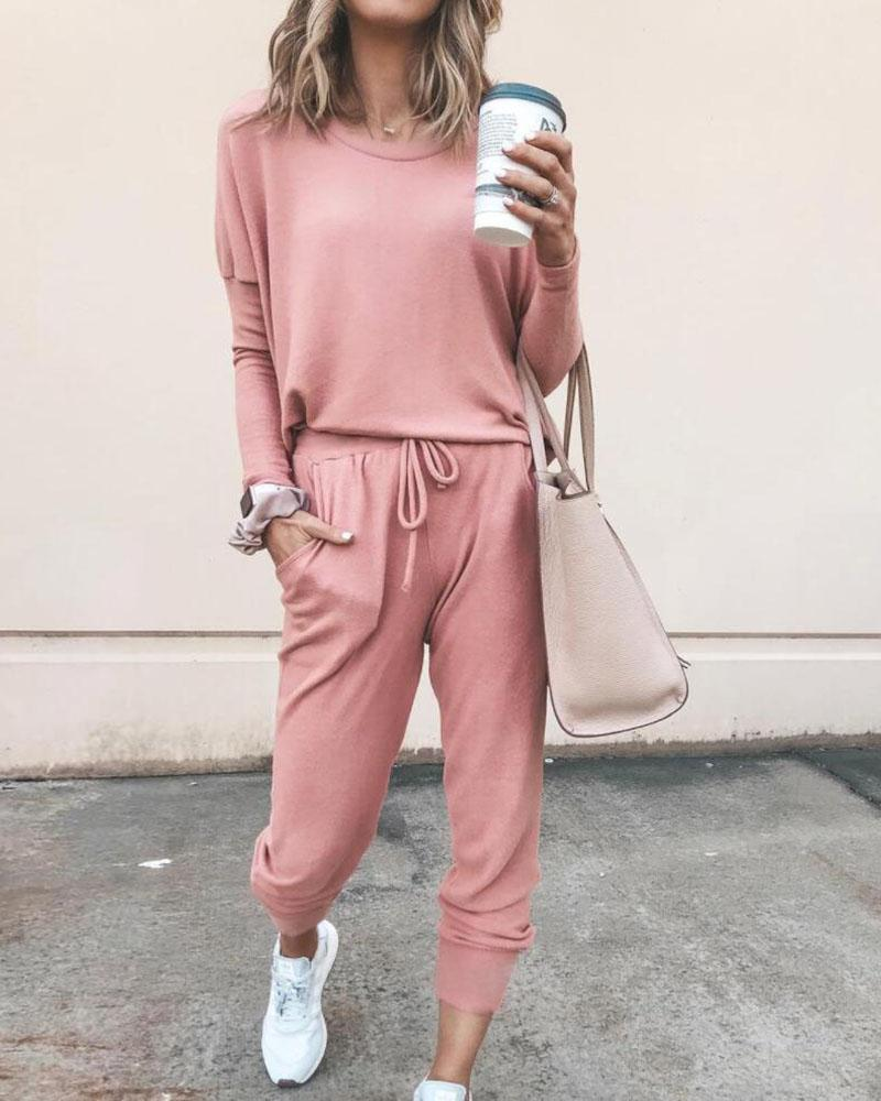 Solid Long Sleeve Top & Tied Casual Pants фото