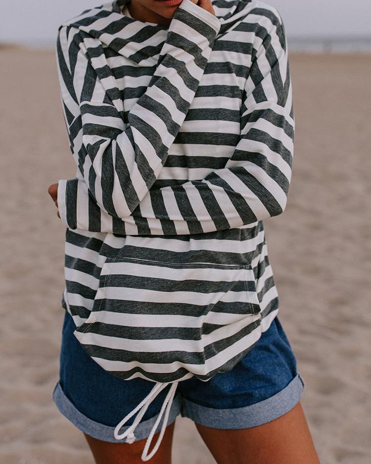 Contrast Stripes Pocket Design Drawstring Hoodie, Gray