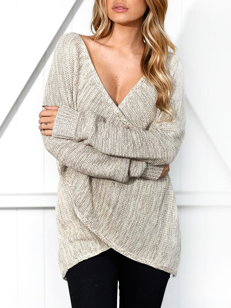 Deep V Wrapped Casual Sweater фото
