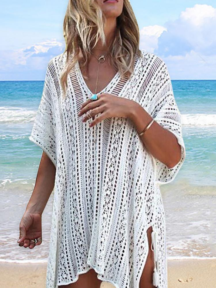 Crochet Lace Split Beach Cover Up