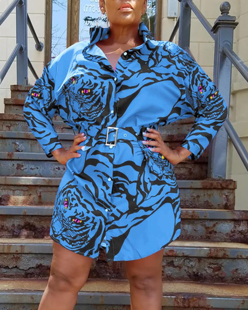 ivrose / Turn-down Collar Tiger Imprimir vestido de camisa casual