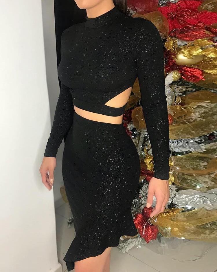 Glitter Cutout Crop Top & Ruffle Hem Skirt Set фото
