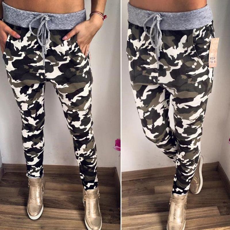 chicme / Pantalones deportivos deportivos de estilo casual con estampado de camuflaje y cintura ajustada