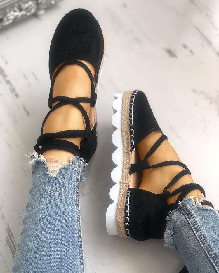 joyshoetique / Casual Strappy Espadrille Flats Shoes