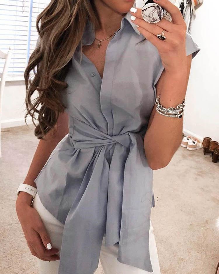 Solid Short Sleeve Tie Waist Blouse