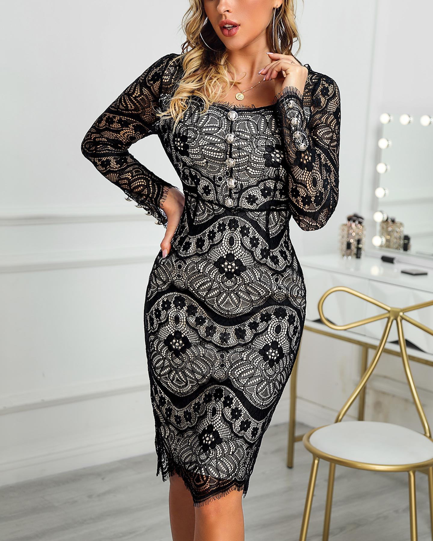 Hollow Out Long Sleeve Lace Dress фото