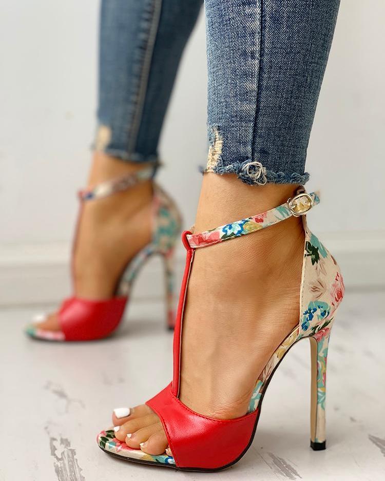 Contrast Color Floral Splicing Ankle Strap Heeled Sandals