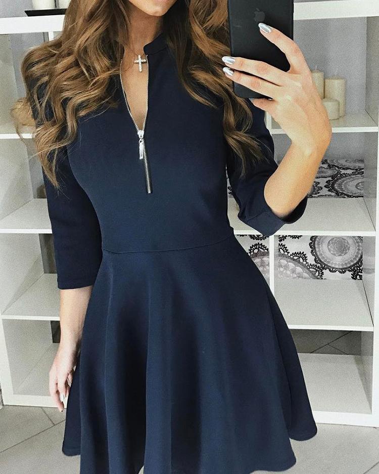 Zipper 3/4 Sleeves Casual Pleated Dress