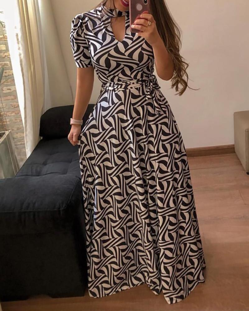 Short Sleeve Print Maxi Dress фото