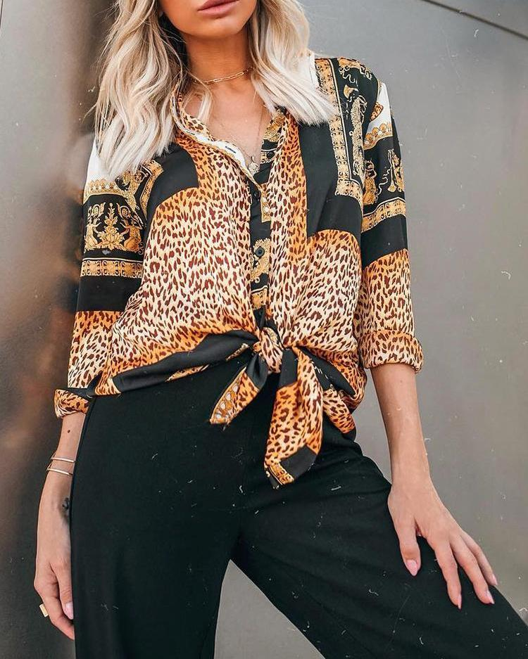 Leopard Print Long Sleeve Casual Shirt
