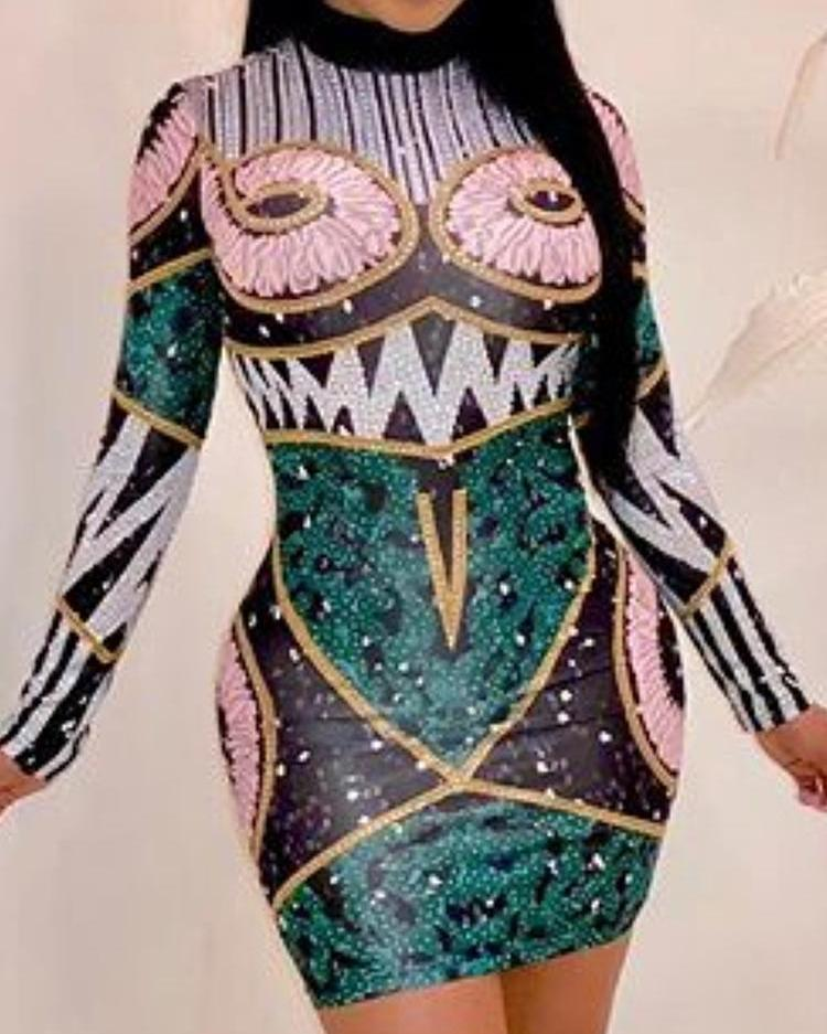 Funny Print Long Sleeve Bodycon Dress фото