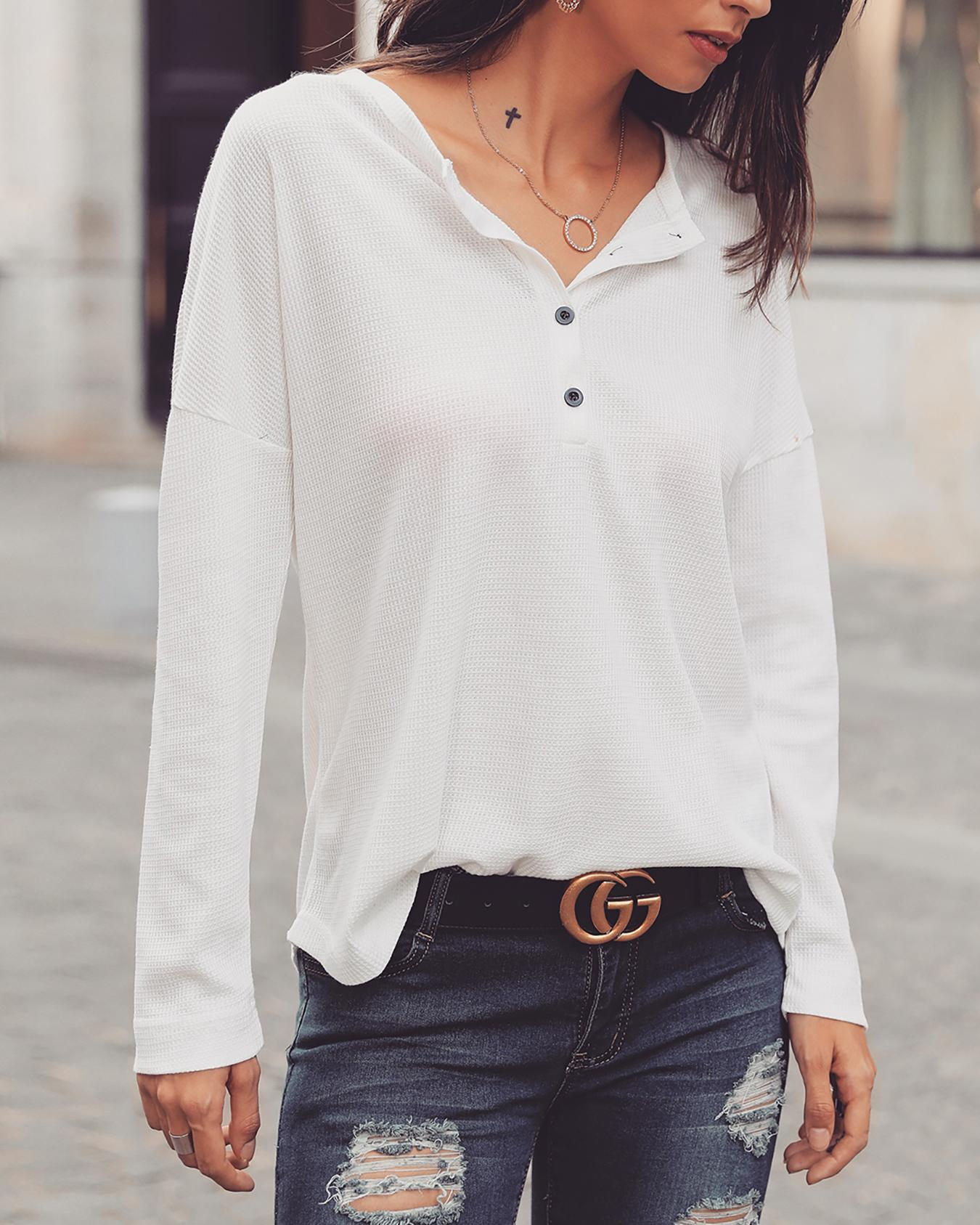 Solid Button Design Casual Blouse фото