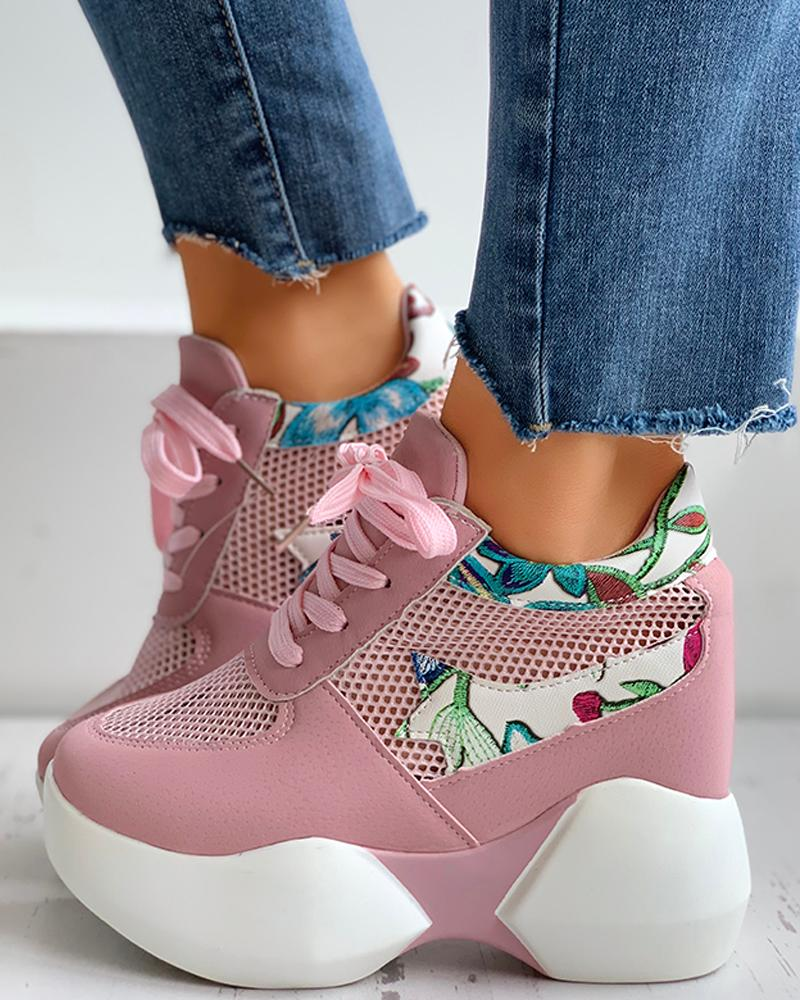 joyshoetique / Floral Embroidery Lace-Up Breathable Sneakers